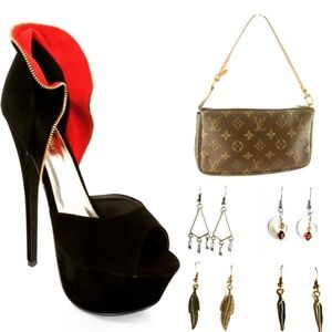 Louis Vuitton Purse and Heels with Earrings